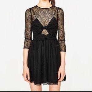 🎉Zara TRAFALUC Lace long-Sleeves Black Dress